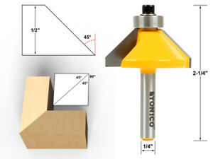 """45 Degree Chamfer Edge Forming Router Bit - 1/4"""" Shank - Yonico 13906q"""