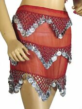 Red Professional Hip Scarf Coin Belt Wrap Belly Dance Costume Clothing Attire