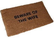 BEWARE OF THE WIFE Natural Coir door mat 70 x 40cm x 25mm character printed rug