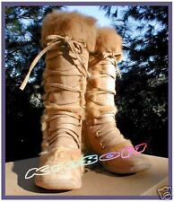 TAN or BLACK MICRO SUEDE or PATENT KNEE HIGH LACE UP BOOTS REAL FUR FLEECE LINED