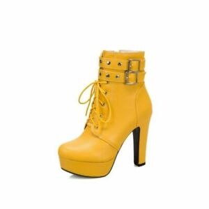 Womens Platform Buckle Riding Round Toe Shoes Fashion Ankle Boots Block Heels