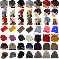 Men Women Knitted Winter Warm Oversized Slouch Beanie Hip Hop Sports Ski Cap Hat