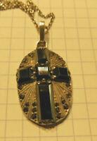 Beau pendentif croix avec sa chaine  Hématites et Marcassites  argent poinçon