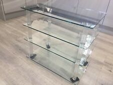 Glass 4 Shelf TV Hi-Fi Rack Audio Cabinet Stand AV