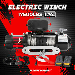 FIERYRED 17500LBS 12V Wireless Electric Winch Synthetic Rope 4WD Recovery Truck