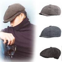 1PC Peaky Blinders Shelby Wool Blend Bakerboy Herringbone  Newsboy Flat Cap Hat