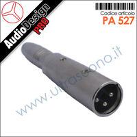 PA 527 Adattatore connettore plug XLR 3 pin MASCHIO / Jack 6.35mm mono femmina