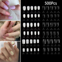 500Pcs Fake Nail Art False Tips Short Full Cover Square Oval UV Gel Acrylic Tip
