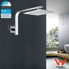 "WELS 9"" Square Rainfall Shower Head Rose Wall Gooseneck Arm Set Chrome Bathroom"