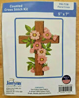 """Janlynn FLORAL CROSS Counted Cross Stitch Kit 5"""" x 7"""" ~ NEW!"""