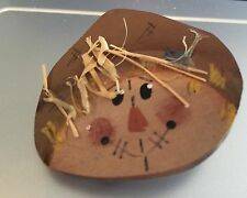 """Hand Painted Wooden Harvest Scarecrow Hat Straw & Rosey Cheeks! About 1-1/2"""""""
