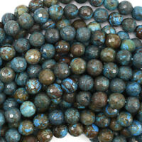 """Faceted Brown Blue Turquoise Round Beads 15.5"""" Strand 4mm 6mm 8mm 10mm 12mm"""