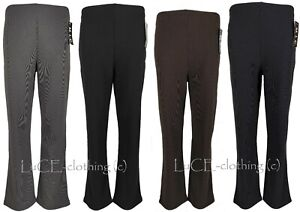 NEW LADIES STRAIGHT BOOT CUT LEG TROUSERS WOMENS RIBBED STRETCH PULL ON PANTS