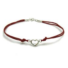 Argento Sterling bracciale massiccio 925 cuore con filo rosso B000186R EMPRESS