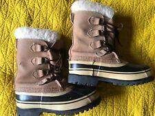 SOREL CARIBOU Women Solid Tan Leather Winter Duck Boots US Shoe Size 5