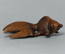 "1940's Japanese handmade Boxwood Netsuke ""Gold fish"" Figurine Carving good"