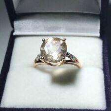 10ct Rose Gold Chrysolite & Diamond Single Stone Ring Size N 1/2 Hallmarked