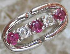 Lovely ✨ 0,14 ct. ✨ Brillant Bague dans de 14k 585 or avec rubis rubis Diamond Ruby