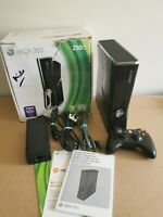 Microsoft Xbox 360s Slim Black 4GB Console with Wireless Controller Boxed TESTED