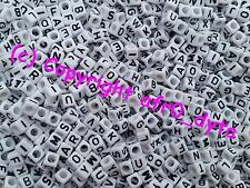 100 White Alphabet Mixed Letters Cube Beads 6mm