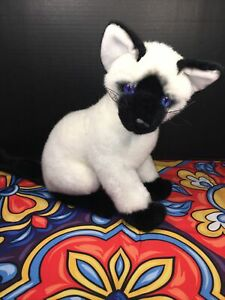"EUC-RARE-14"" FAO Schwarz FIFTH AVENUE Siamese Cat Plush Blue Eyes Kitty"