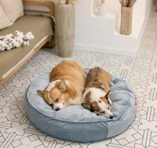 Dog Round Bed Pet Cat Calming Velvet Bed Warm Sofa for Cat Dog 75*75cm