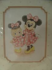 Disney Matted 11 x 14 Inch Precious Moments Print - Girl and Minnie Mouse
