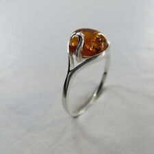 Size 6 (EU Size 58) Cognac / Brown BALTIC AMBER Ring, 925 STERLING SILVER #2458