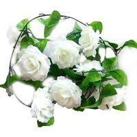 kuenstliche Rose Seide Blumen-Rebe Girlande Haus Wand Party Hochzeit Dekor Weiss