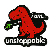 "NEW I AM UNSTOPPABLE...HAPPY DINOSAUR T-REX Diecut Vinyl Wall STICKER 4 1/4""X4"""