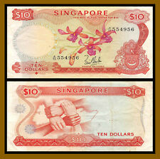 Singapore 10 Dollars, 1967 P-3a Without Red Seal Circulated (Cir)