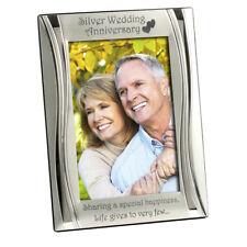 Silver 25th Wedding Anniversary Photo Frame, Matt and Gloss Silver 4 x 6 Inch