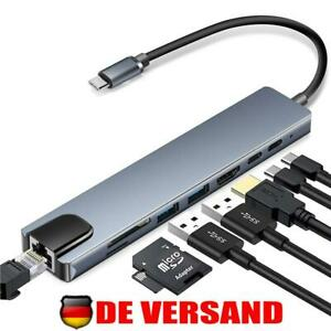8 in 1 Typ-C Hub zu USB 3.0 USB-C HDMI LAN RJ45 SD TF Adapter für Macbook Laptop