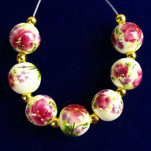 7Pcs/Set White Ceramics Purple Flower Round Ball Pendant Bead 10mm R57123