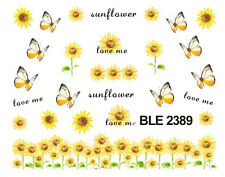 Sun Flowers Butterflies Water Transfers Nail Art Sticker Decals UV  Decoration