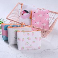 Portable Mini Wallet PU Zip Bag Coin Purse Handbag Women Cartoon Flamingo Pink
