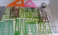 Vintage Lot of Architectural Drafting Shapes Templates Tools ETC. 23 PIECES