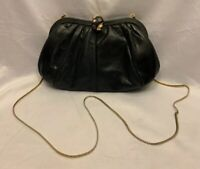 Vintage Judith Leiber Black Snakeskin Clutch w Jeweled Shell Clasp & Chain