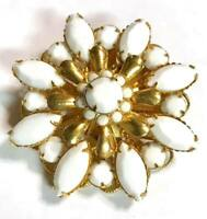 Vintage White Milk Glass Flower Brooch