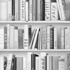Muriva Fashion Library Grey Silver Bookshelf Glitter Wallpaper (139502)
