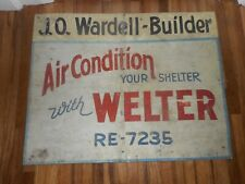 Vintage J WARDELL Builder Air Conditioner WELTER Advertising MINNEAPOLIS MN SIGN