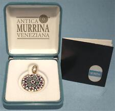 Antica Murrina Veneziana Italy Millefiori Art Glass Sterling Silver 24K Pendant