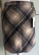 Indigo M&S Grey White Check Wool Blend Mini Skirt 8 10 S