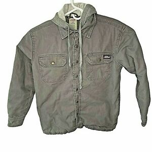 Dickies Mens Small Quilted Lined Jacket  Canvas Hooded Gray Work  Full Zip Snaps