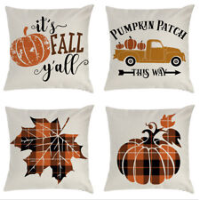 Fall Decorative Pillow Covers Buffalo Plaids Pumpkin Truck Farmhouse Set of 4
