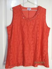MILLERS ORANGE LACE SLEEVELESS TOP SIZE 18