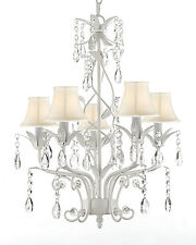Wrought Iron and Crystal 5 Light White Chandelier Pendant Lighting with Shades
