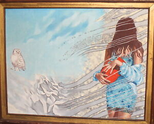 Abstract surrealist woman portrait oil painting signed