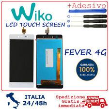 TOUCH SCREEN VETRO e SCHERMO MONITOR LCD DISPLAY ASSEMBLATI Wiko Fever 4G Bianco