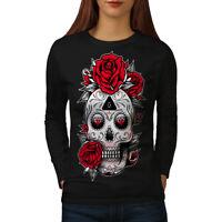 Wellcoda Cute Skull Womens Long Sleeve T-shirt, Head Face Casual Design
